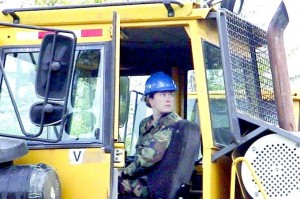 Karen Knock-Lucas is a master driver with the Wisconsin Army National Guard 229th Engineer Company. When new equipment is acquired, she tries it out and provides job training for her fellow soldiers.